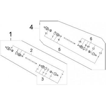 Set de Soufflet de Cardan Arrière Coté Pont - 500 MXU IRS