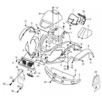 GARDE BOUE AVANT DROIT - CARENAGE - Hytrack - HY550 EFI