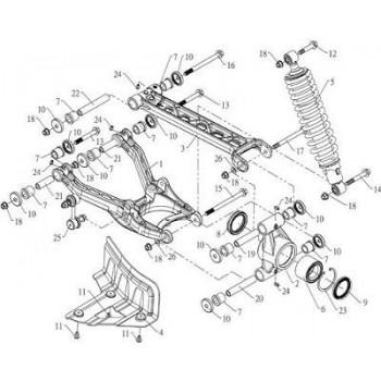 TRIANGLE SUPERIEUR ARRIERE GAUCHE - Hytrack - HY590 4x4